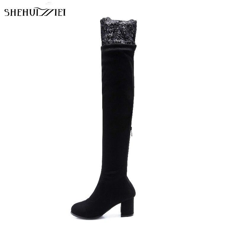 Nouvelle À Automne Le Longues Bal Mode Femmes Shehuimei Hiver Genou De Chaussures Noir Bottes Rond Bout Chaussette Femme Sur Sexy gbIY6yvf7