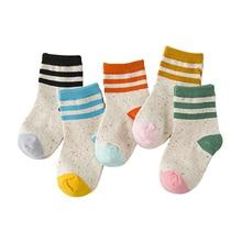 5 Pairs Autumn Kids Socks Cotton Football Children Socks For Boys Girls 1-6 Year Baby Sport Socks