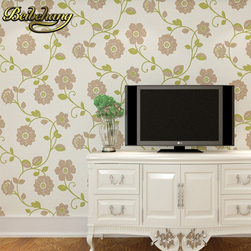 beibehang pastoral flower flocking non-woven wall paper home decor  bedroom living room papel de parede 3D wallpaper for wall
