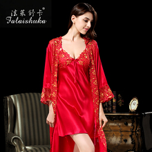 2017  brand women plus size  100% pure silk sexy red embroidery lace fashion  robe&gowns lady silk sleepwear robe&gown sets
