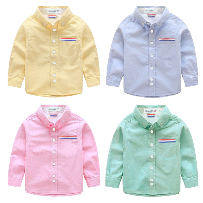 ChanJoyCC Spring Autumn New Design Boys's Shirt Fashion High Quality Casual Long Sleeve Turn-down Collar Solid Cotton Soft Shirt