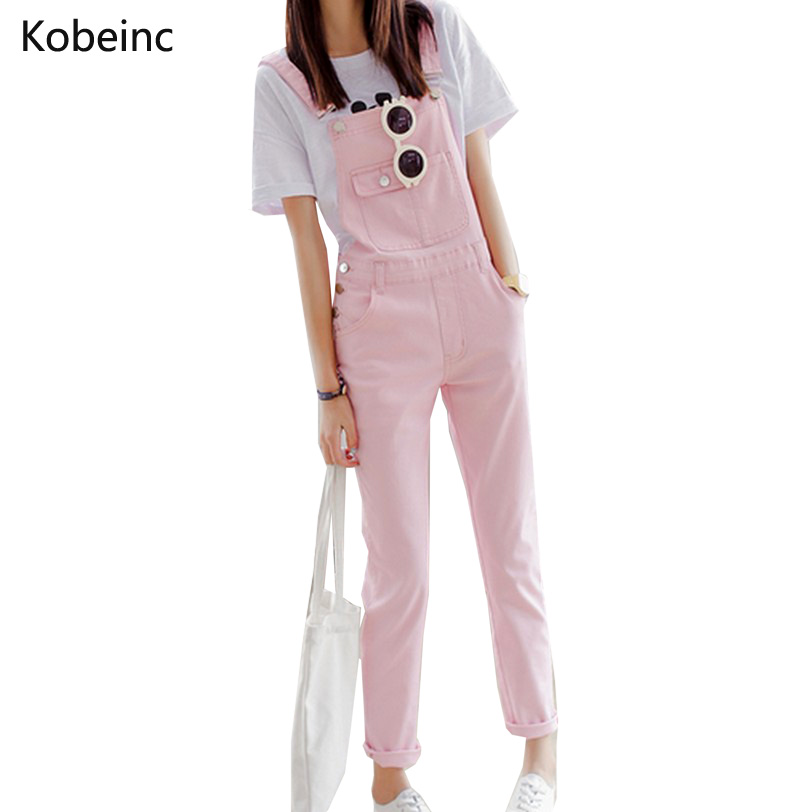 Brief Solid Women Jumpsuits Slim Moveable Strap Rompers Casual Big Pocket Denim Overalls Fashion Candy Color