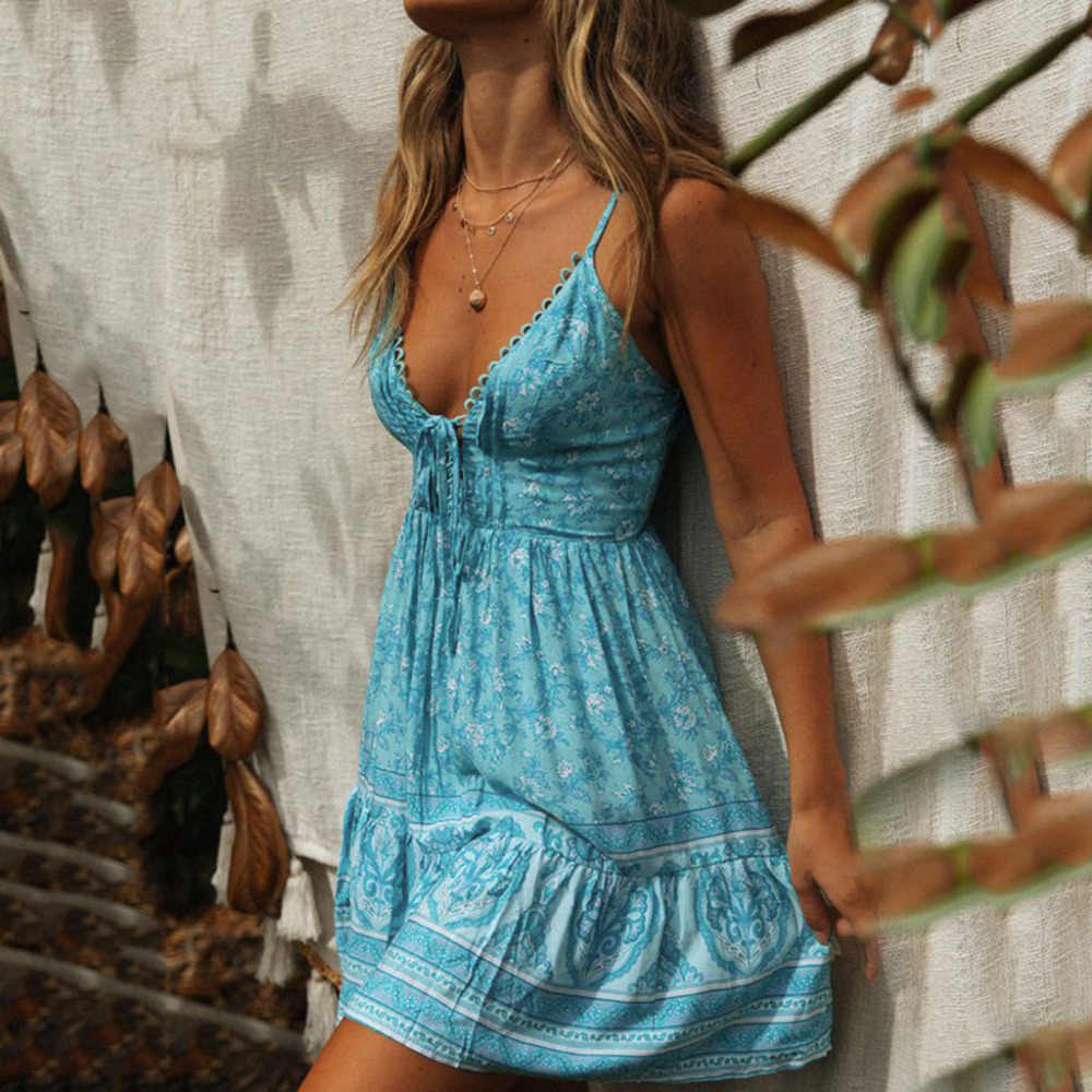 2019 Sommer Sexy Strand Kleid Casual Kleid Dame Backless Frauen Sommerkleid Slim Fit Dünne Dünne Kurze Hot V-ausschnitt Kleid Vestidos