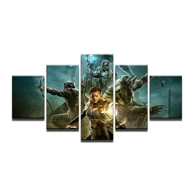 5 Panel Game Elder Scrolls Online Poster Modern Home Wall Decor Canvas Picture Art HD Print Painting On For Living Room