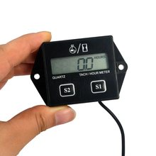 A prueba de agua Digital Motor tacómetro medidor de horas tacómetro Gauge RPM del Motor pantalla LCD para Motor de motocicleta carrera para Motor de coche barco