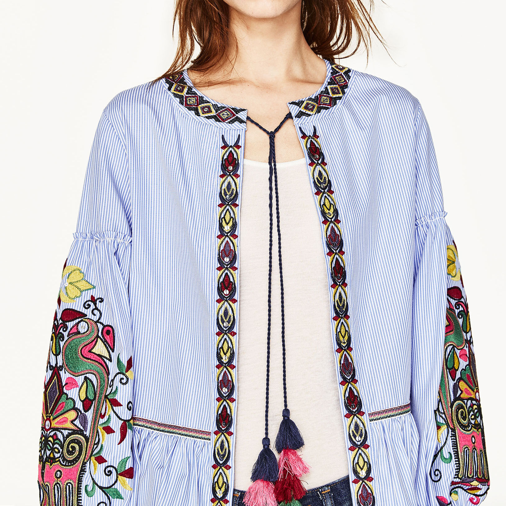 Europe and the United States in the spring of 2017 new family name wind embroidered stripe long sleeved coat 9028