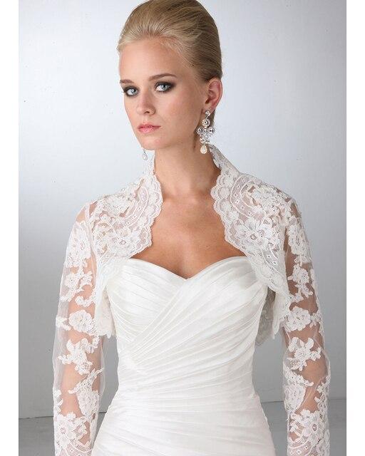High Quality Custom Made Bridal Jackets 2016 New Elegant Full Sleeves Lace Wedding Jacket/Boleros Bridal Dress Accessoriess
