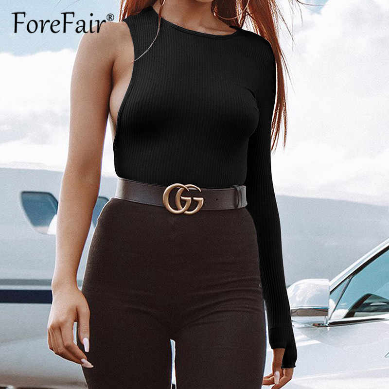 Forefair One Shoulder O Neck Long Sleeve Bodysuit 2019 Spring Women Knitted Streetwear Black White Sexy Skinny Bodysuit