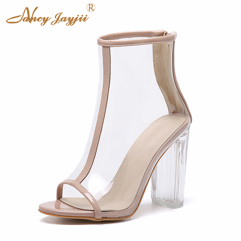 Black Nude Transparent Clear Ankle Boots Women Lady Zipper PVC Peep Toe Mixed Color Spring Summer Square Heel Sexy Fashion Brand glitter silver stars patchwork women sexy transparent pvc boots fashion peep toe ladies square heel ankle boots zipper back boot