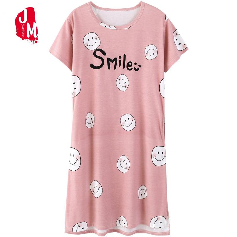 Summer Sleepwear Women Short Sleeve Nightgown Ladies Nightwear Homewear Nightdress 2018 New Cotton Sleepwear Nightgown Plus Size