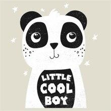 ShinEquin Байкерская нашивка, одежда с теплопередачей, печать панды, крутой мальчик, железные нашивки для одежды, наклейки из ПВХ Diy