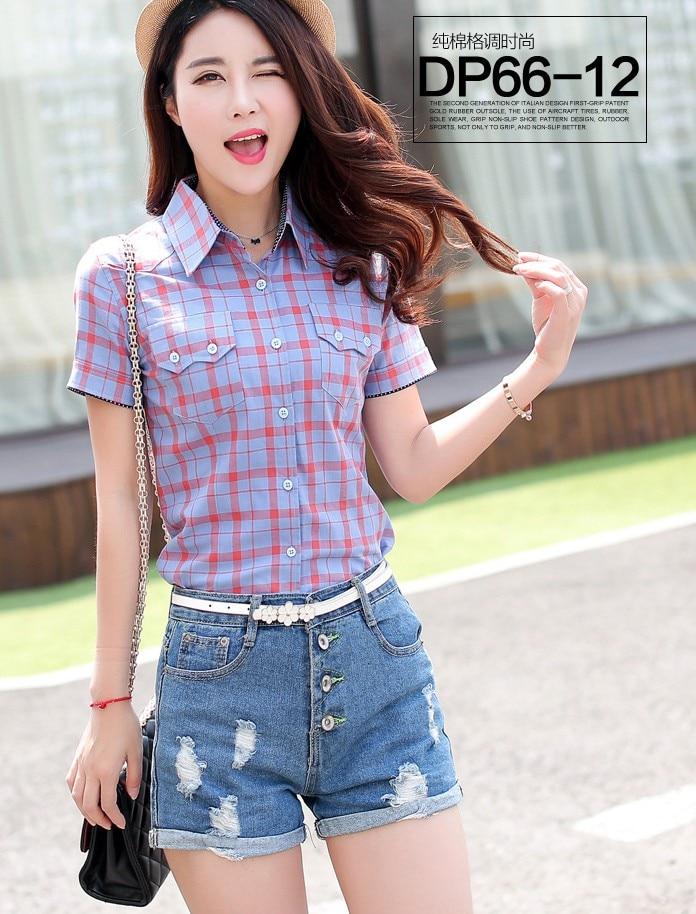 Camisa de la blusa de las mujeres camisa a cuadros de algodón de manga corta blu