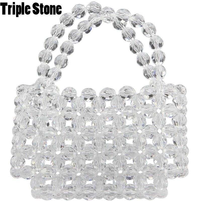 Crystal Clear Transparent Beading Small Mini Tote Luxury Lady Purse Handbags elegant Spain France Women Wedding Evenig Bag Chic