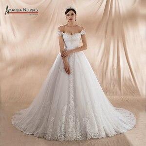 Image 1 - גלימת דה soiree לונג 2020 כבוי כתף רצועות אונליין חתונה שמלות חדש אמיתי תמונות