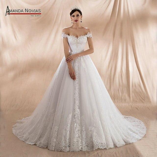 גלימת דה soiree לונג 2020 כבוי כתף רצועות אונליין חתונה שמלות חדש אמיתי תמונות