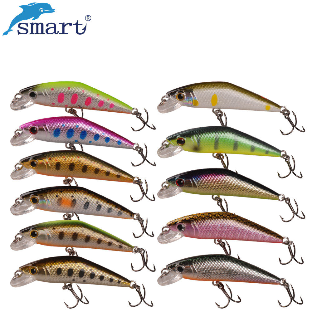 Smart Minnow Hard Bait 5cm 3.6g Sinking Fishing Lure VMC Hook Isca - Fiske - Bilde 1