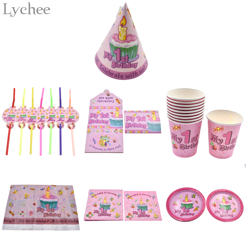 Lychee Madchen 1st Birthday Party Einweggeschirr Strohhalme Teller Tassen Tischdecken Ersten Geburtstag Baby Shower Dekoration In