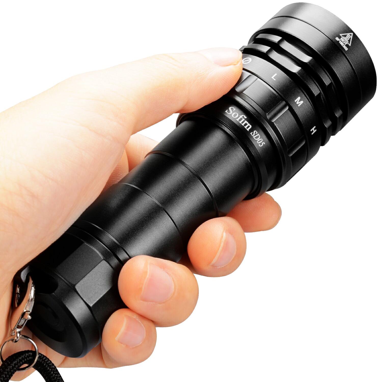 Sofirn SD05 Scuba Diving Flashlight XHP50.2 21700 Lantern 2550lm IPX8 Waterproof Magnetic Ring Orange Peel Reflector 18650 Torch(China)
