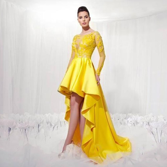 fashion yellow high low evening dresses 2017 long sleeve appliques lace  beaded satin formal party dress women pageant gown a4d8bb3e4f99
