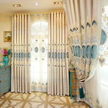 New Jacquard Luxury Villa Decoration Europe Embroidered Blackout Curtain for Living Room Window Curtains Treatment Drapes