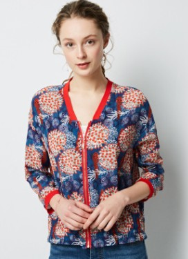 Spring and summer 2019 new vintage silk silk jacket lady's Long Sleeve Jacket loose Baseball Jacket