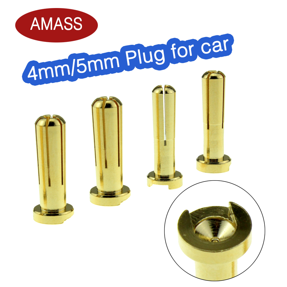 AMASS 4mm 5mm Banana Plugs Male Authentic Alotted aft Beveled Stable Current 40A 7U Gold Plating For RC Car(China)