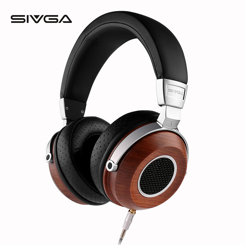 SIVGA SV004 wooden Over ear Hifi Stereo bass dj monitor Headphones With Microphone Dynamic Earpiece earphone