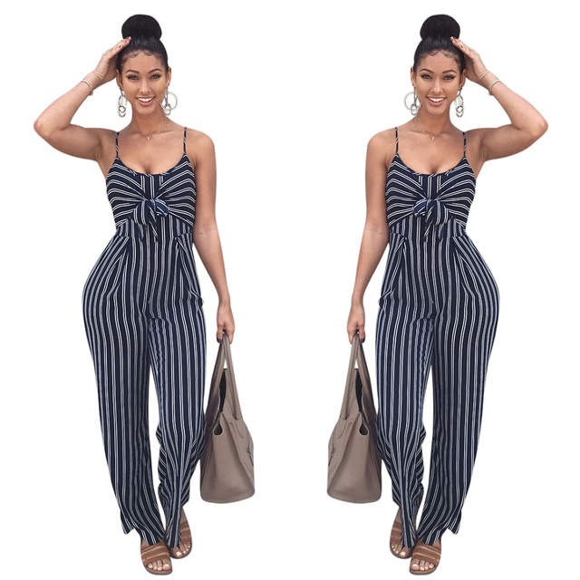 e5f52c222980 placeholder Elegant Striped Sexy Spaghetti Strap Rompers Womens Jumpsuit  Sleeveless BacklessBow Casual Wide legs Jumpsuits Leotard Overalls