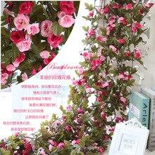 Artificial Flowers DIY Rose Flower Vine Flores Wedding Decoration Wall Artificial plants Home Decoration Plastic flower Rattan