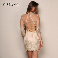 Yissang Summer Patchwork Lece V Neck Mini Dress Women Vestidos Perspective Long Sleeve Elegant Party Dresses