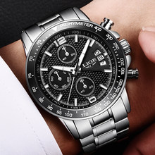 2018 LIGE Brand New Men's Watches Business Quartz Watch Men Real Three Dial Luminous Waterproof 30M Outdoor Sports Steel Watch(China)