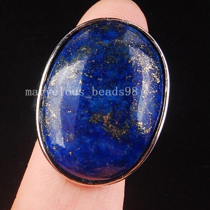 Free Shipping Beautiful jewelry Natural Lapis Lazuli Women Men Art Oval Ring  7~12