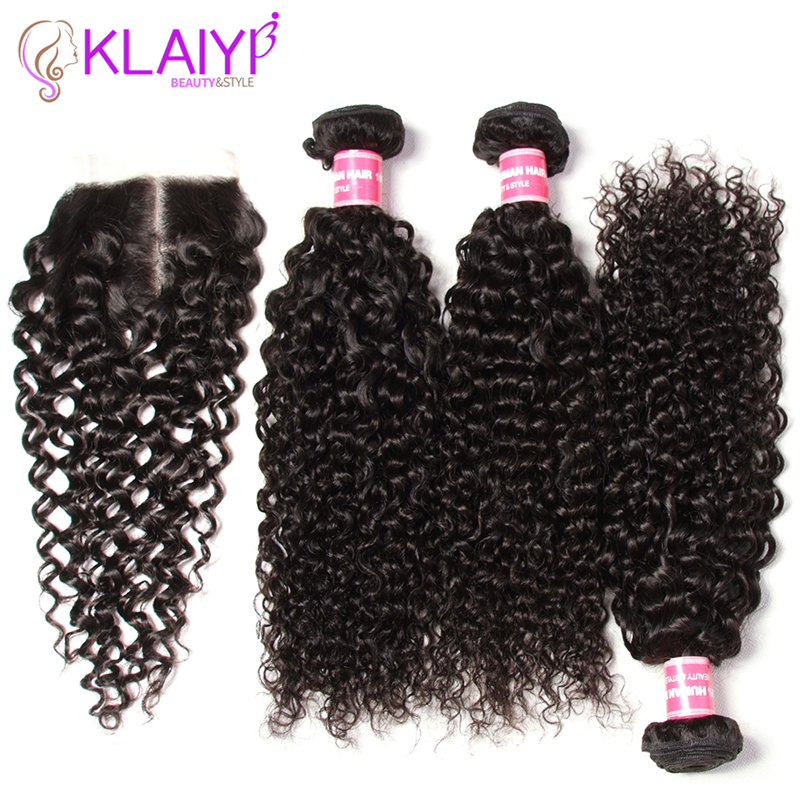 Klaiyi Hair Bundles With Closure Malaysian Curly Hair With Closure Free Middle Three Part 100 Remy