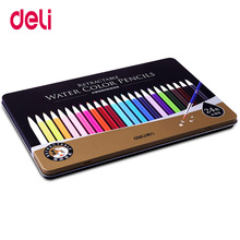 лучшая цена Deli 24Colors Professional Aoto watercolor Pencils Set for Drawing Painting Sketch Tin Box Art School Supplies mechanical pencil