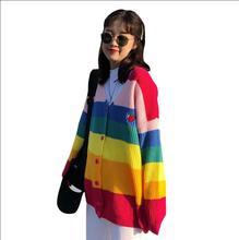 Autumn Rainbow Stripe Boring Letter Embroidery Long Sleeve Knit Cardigan Women Sweater