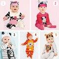 Tampas de Panda Macacão de Bebê Meninos Roupas Set Criança Chapéu One-Pieces Ternos Cinza bebê menino roupas bebe macacão Geral