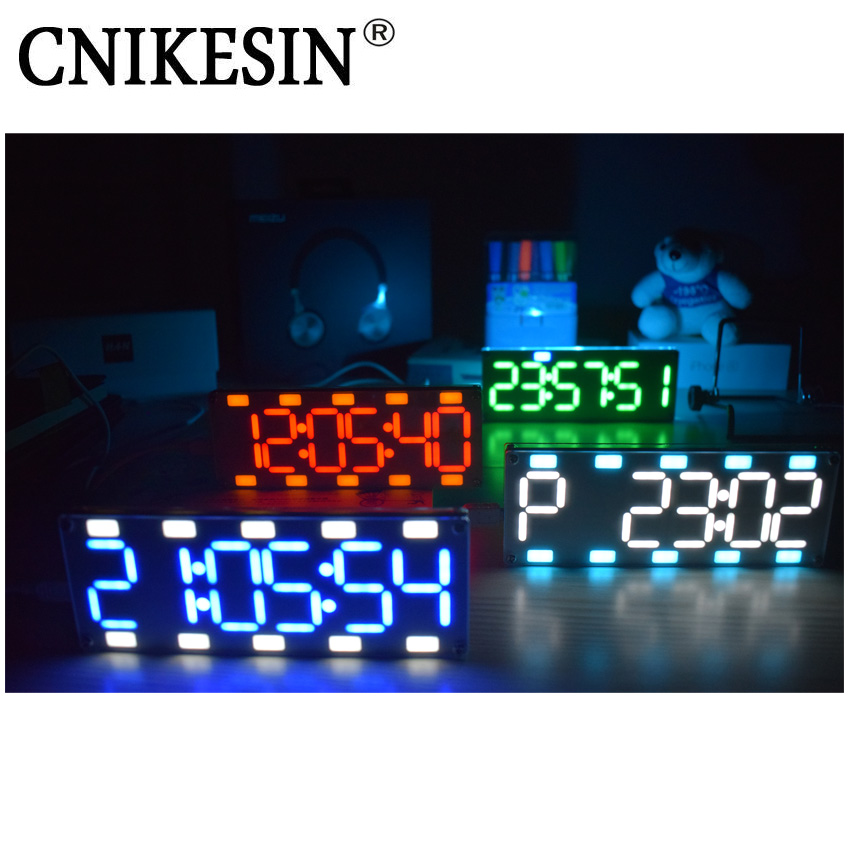 Cnikesin DIY 6 разрядный светодиодный Большой Экран два-Цвет цифровой трубки настольные часы комплект touch Управление