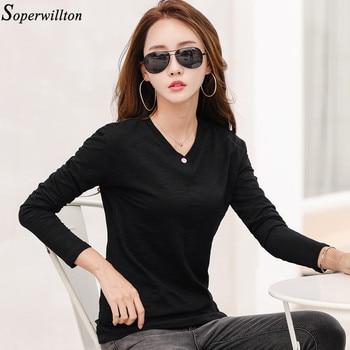 100% Cotton T Shirt Women Long Sleeve Tshirt Female 2020 Spring Autumn Ladies Tops Tee Shirt Femme Plus Size 3XL White Black G79 - Black, M