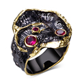 DC1989 New 2016 Design Banquet party Evening cocktail Black Gold Plated Red Cubic Zirconia Lead Free Luxury ring for women (R01)