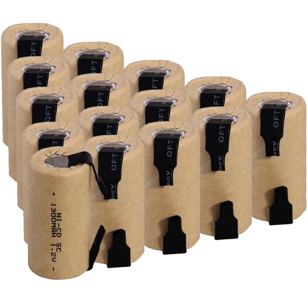 15 pièces SC 1300 mah 1.2 v batterie piles rechargeables NICD pour tournevis électrique perceuse électrique 4.25 cm * 2.2 cm pour outils électriques