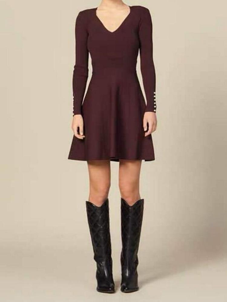 Jesień i zima kobiety Mini sukienka w stylu Vintage wino czerwone damskie z długim rękawem krótkie sukienki z dekoltem w kształcie litery v z dzianiny sukienka na co dzień w Suknie od Odzież damska na  Grupa 1