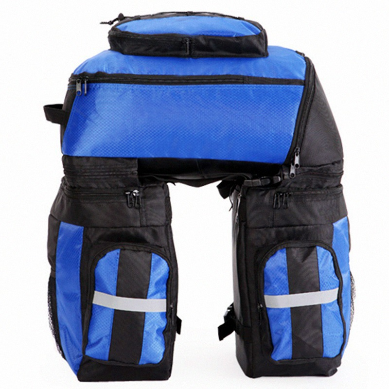 Bicycle Basket Cycling Bicycle Bag Bike Double Side Rear Rack Tail <font><b>Seat</b></font> Trunk Bag Pannier with <font><b>Rain</b></font> Cover