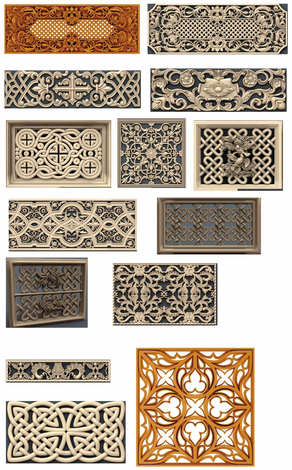 14 Pieces/sets Decorative 3D Model STL Relief CNC Carving Engraving Artcam Aspire P