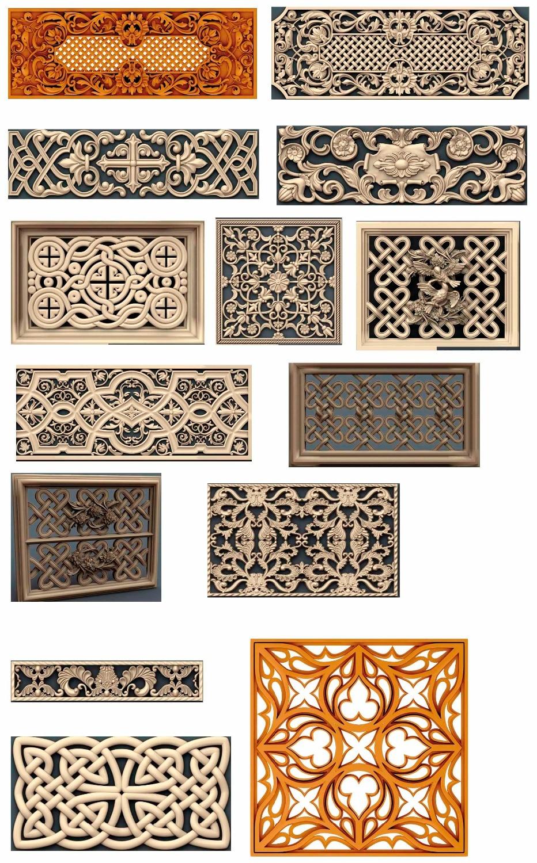 14 Pieces/sets Decorative 3D Model STL Relief CNC Carving Engraving Artcam Aspire P