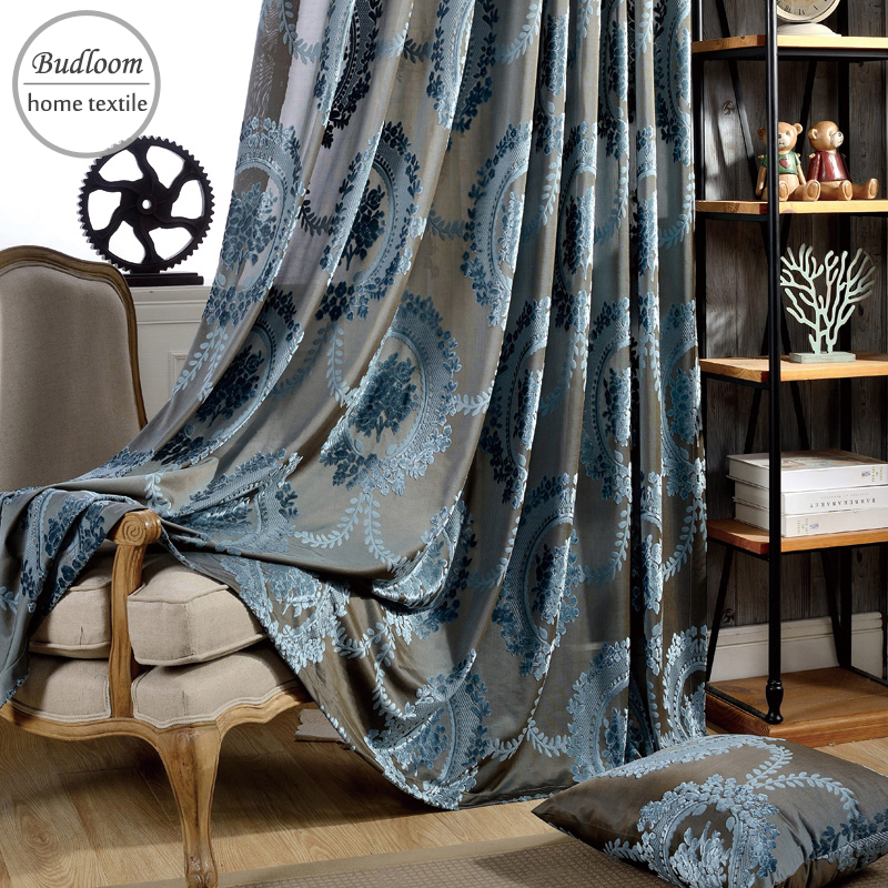 Classic European Curtains Flocked Jacquard Tulle Curtains Green Brown Blue Curtains For Living Room Luxury Curtains For Bedroom Curtains Aliexpress