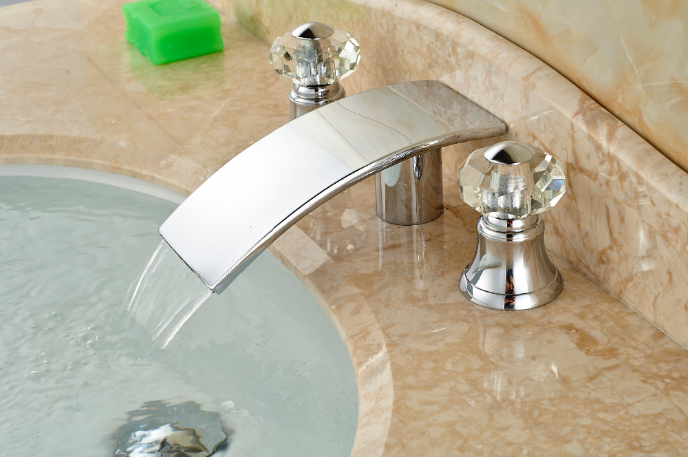 Wholesale And Retail Promotion  Chorme Big Waterfall Faucet Elegant Bathroom Faucet Two Crystal Handles Mixer Tap Sink Faucet