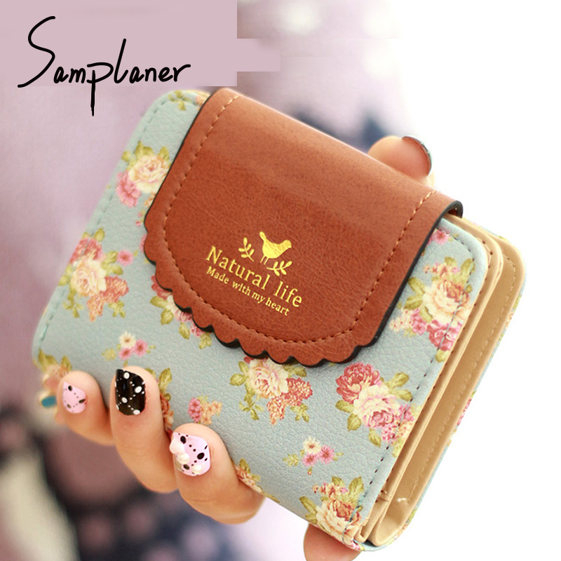 Samplaner Zipper Flowers Short Wallet Women 2017 Small Coin Purse Leather Lady Purses Women's Coin Card Holders Female Wallets fashion women wallets coin purses holders pu leather zipper tassel wallet women s short design purse retro clutch carteira mujer