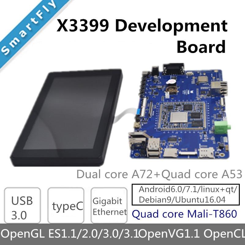 X3399 RK3399 6-Core 64-peu Haute-Performance Plate-Forme carte de démonstration pour AR VR Android 6.0 ubuntu 16.04