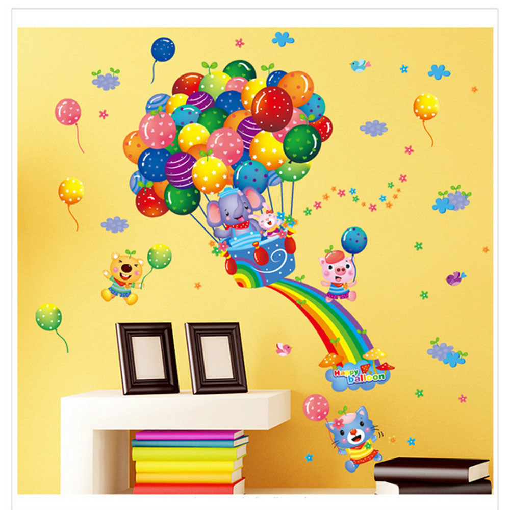 Hot Air Balloon Cartoon Children Wall Stickers Children Bedroom ...