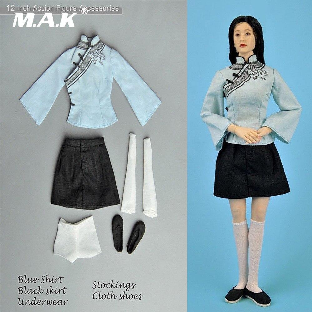 1/6 Республики Китай студенток Китайский классический Gril одежда комплект синяя рубашка и Платье черного цвета для 12 фигурку